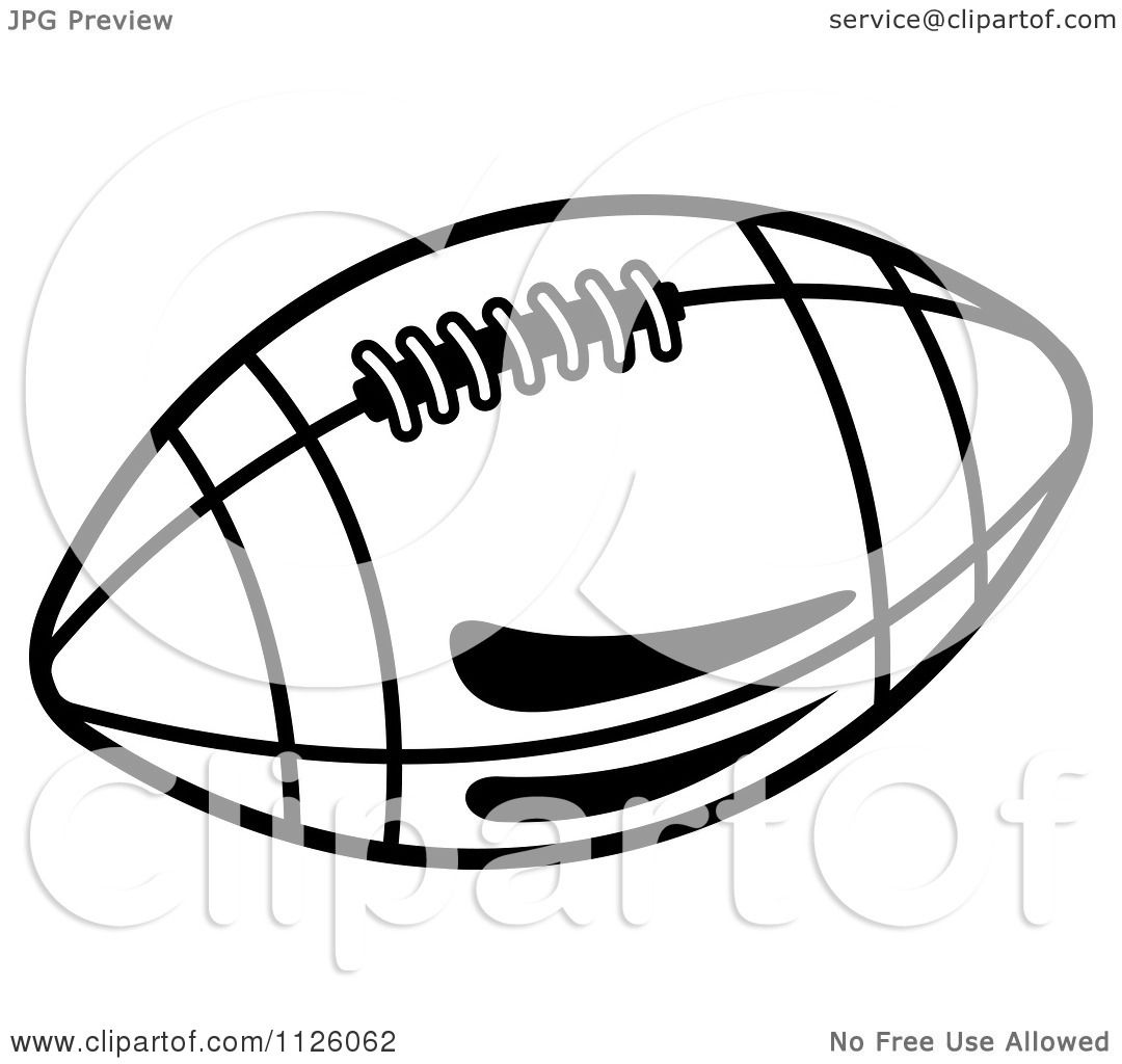 Clipart Of A Black And White American Football 8