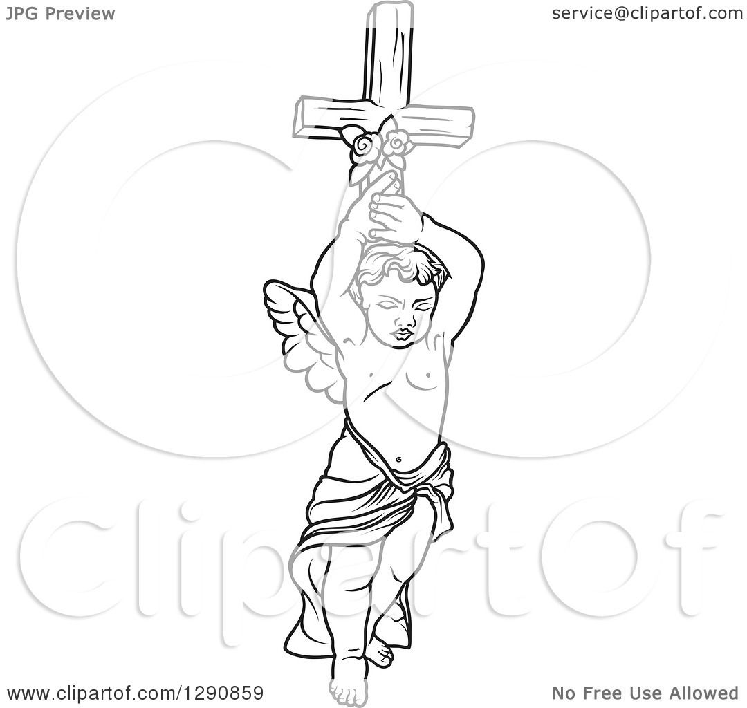 Clipart Of A Black And White Angel Holding Up A Cross