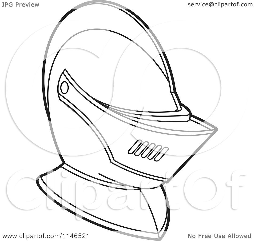 Clipart of a Black and White Armour Knights Helmet