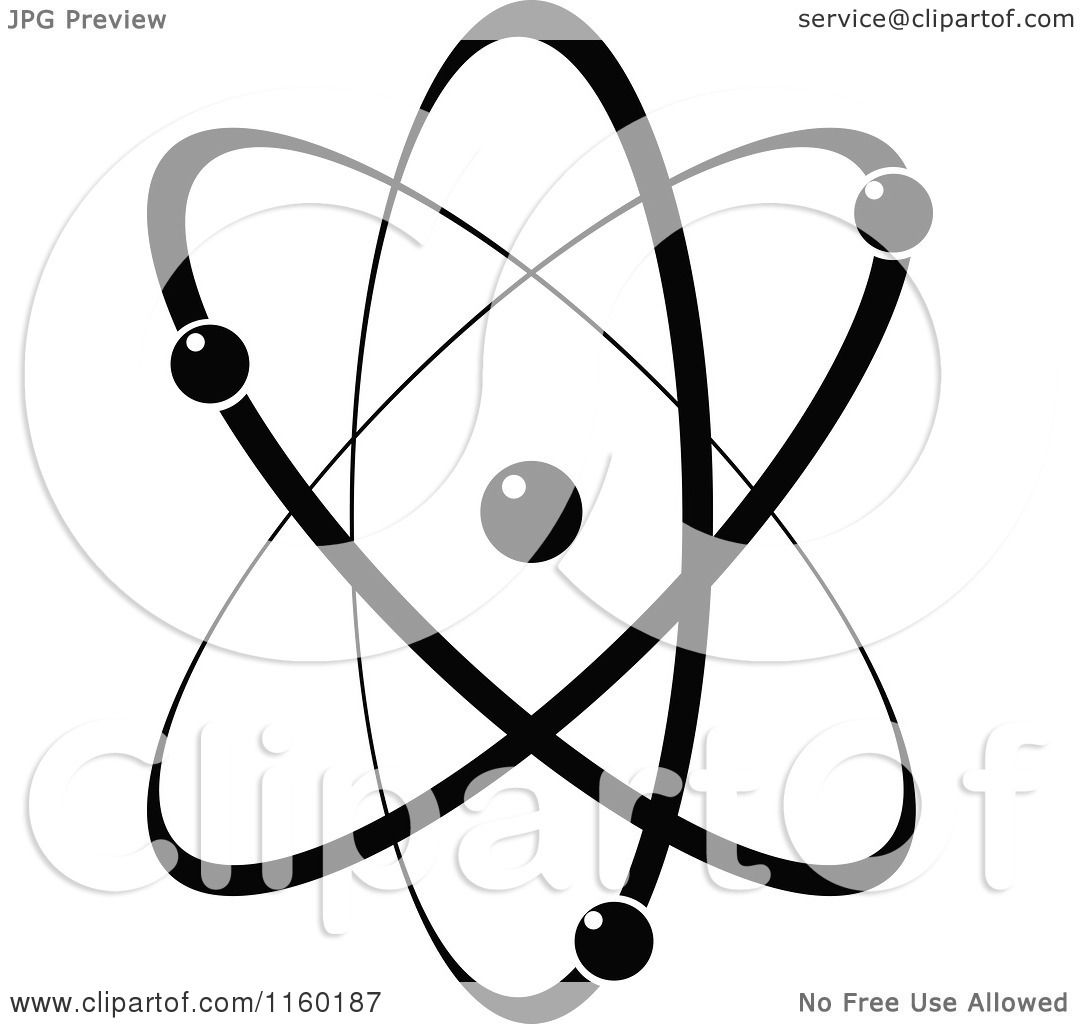 Clipart Of A Black And White Atom 1