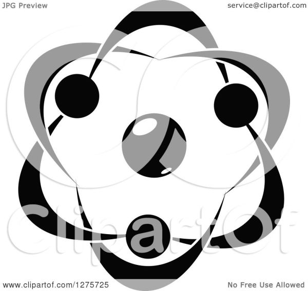 Clipart Of Black And White Atom 29 - Royalty Free Vector