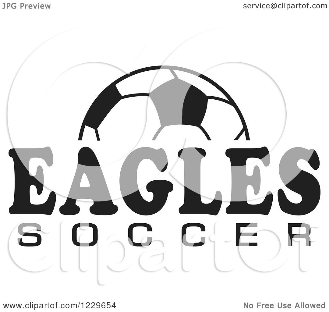 Clipart Of A Black And White Ball And Eagles Soccer Team