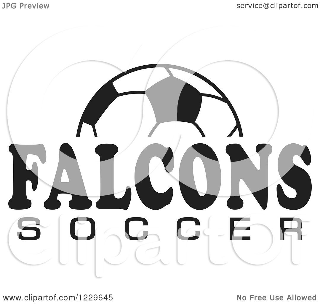 Clipart Of A Black And White Ball And Falcons Soccer Team