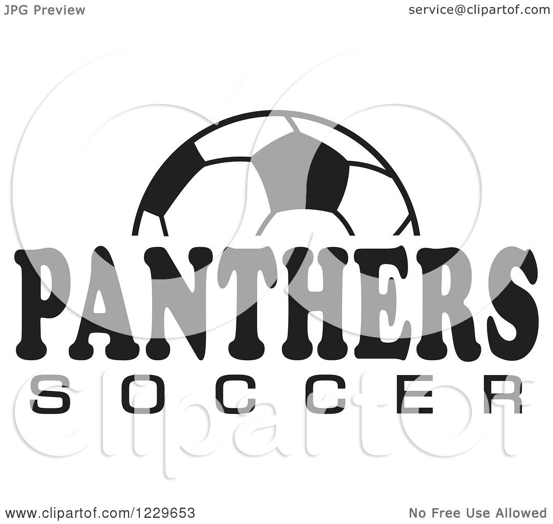Clipart Of A Black And White Ball And Panthers Soccer Team