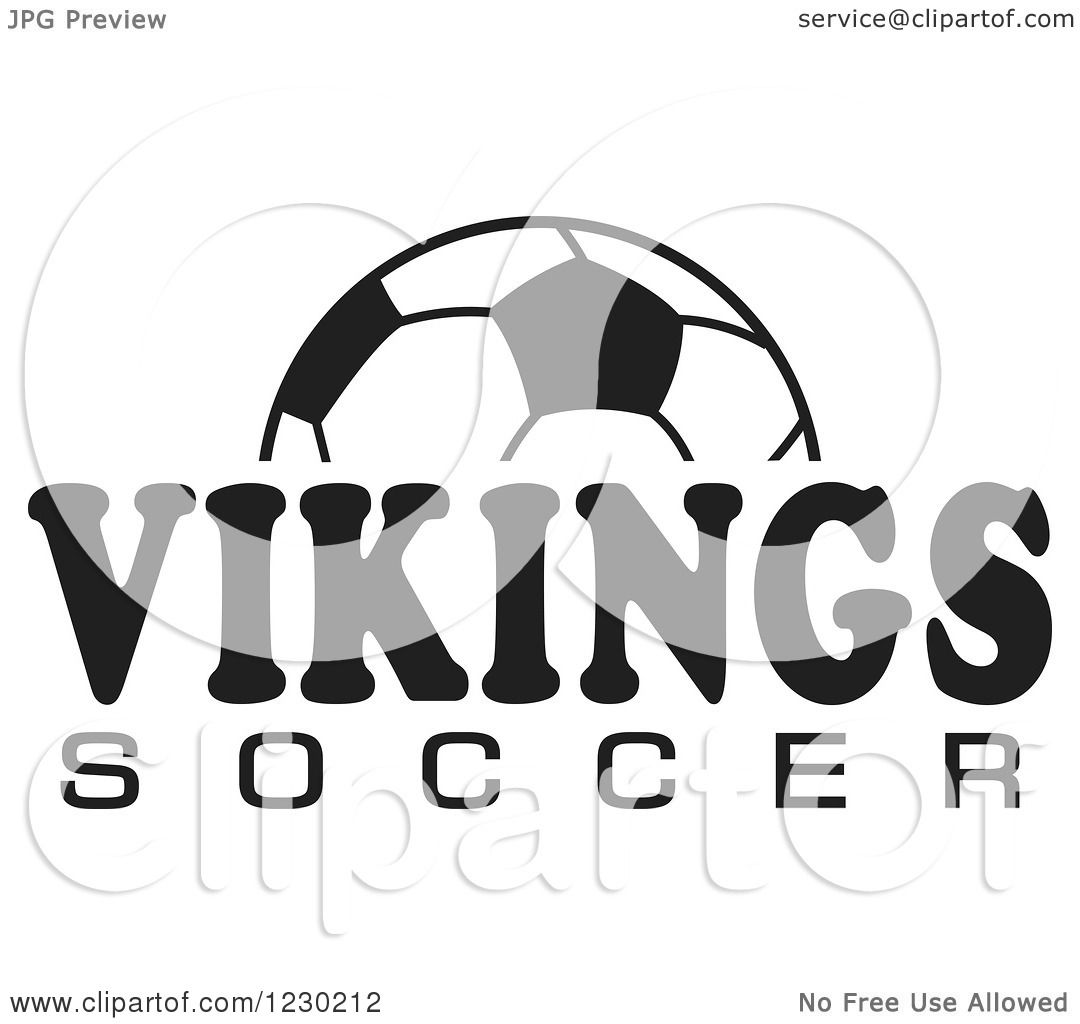 Clipart Of A Black And White Ball And Vikings Soccer Team