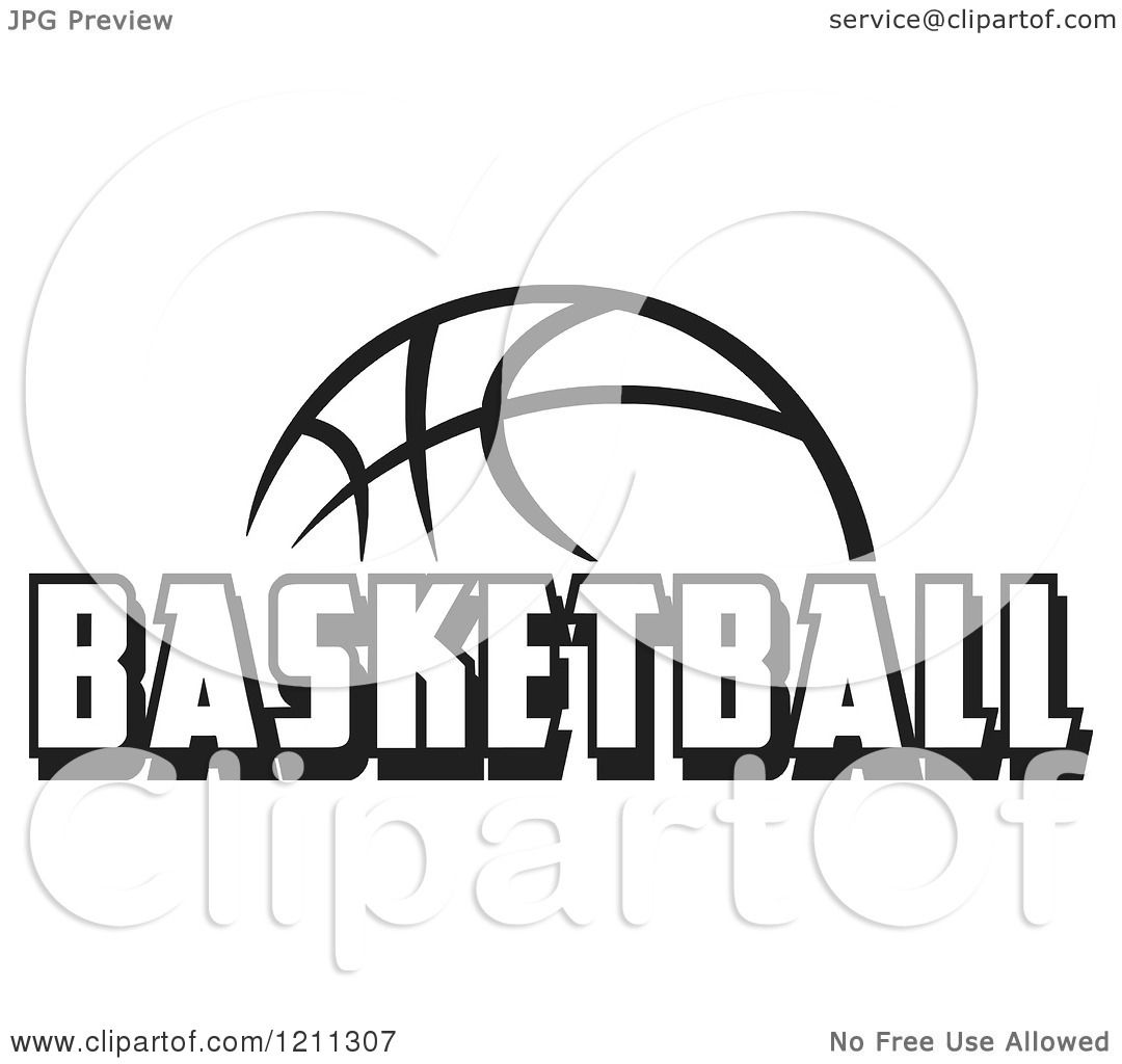 Clipart Of A Black And White Ball With Basketball Text