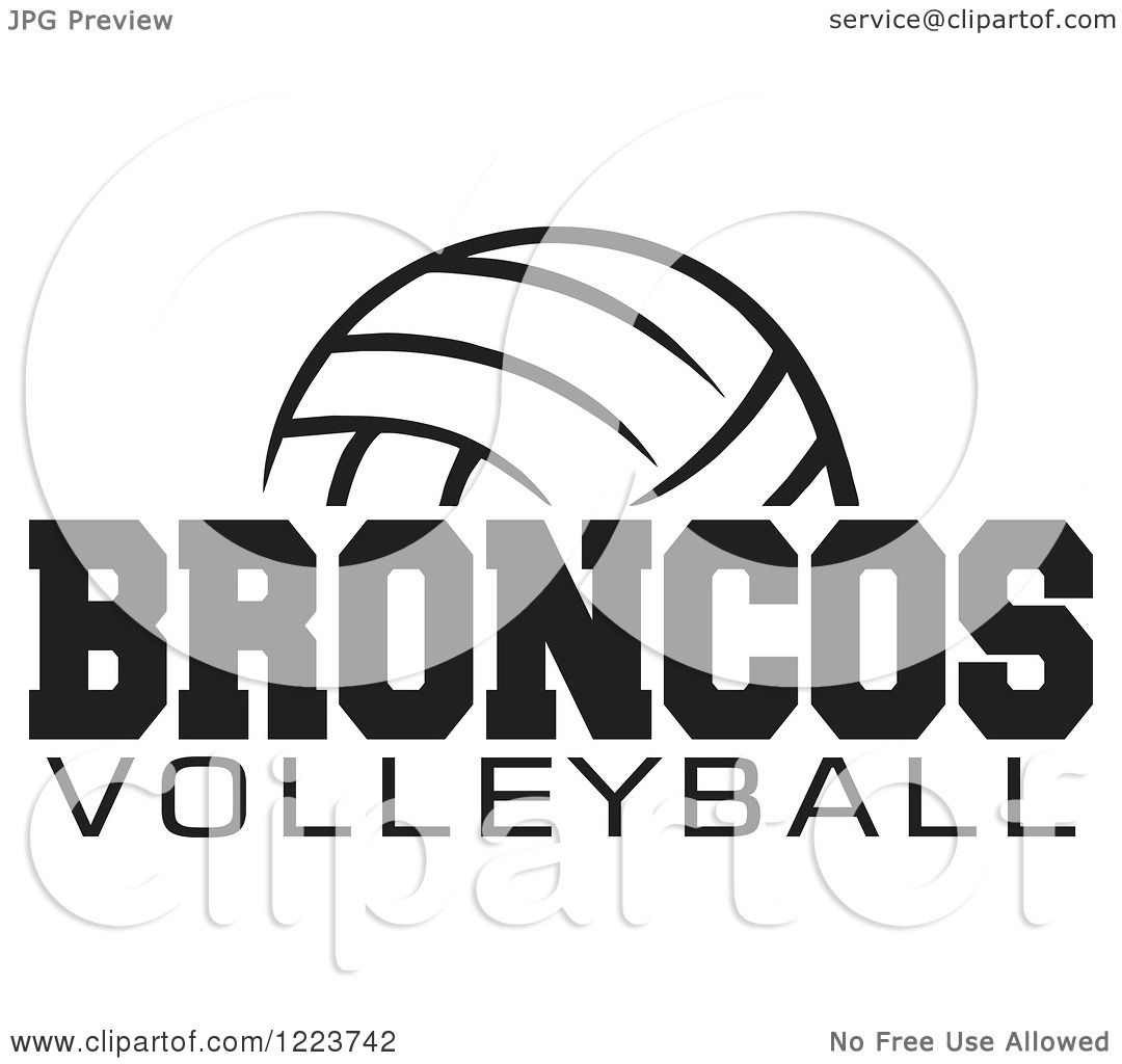 Clipart Of A Black And White Ball With Broncos Volleyball