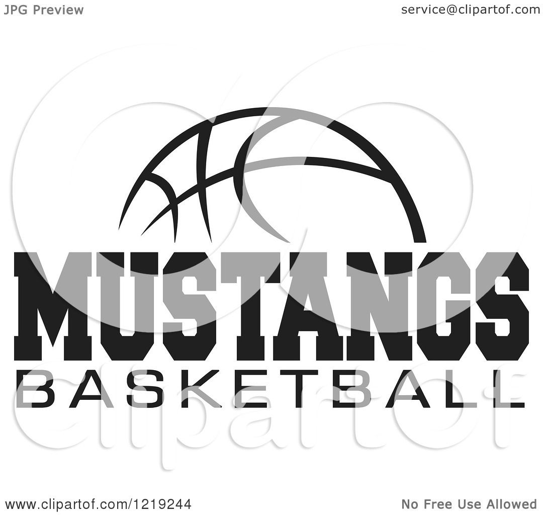 Clipart Of A Black And White Ball With Mustangs Basketball