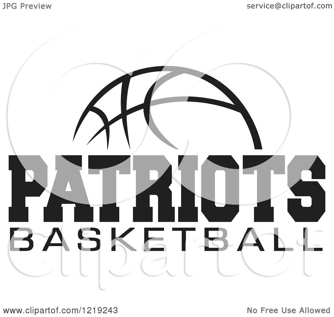 Clipart of a Black and White Ball with PATRIOTS BASKETBALL