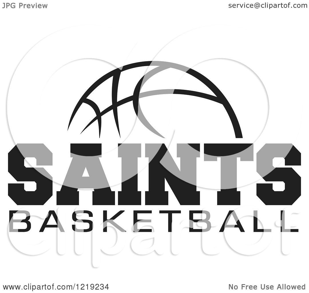Clipart Of A Black And White Ball With Saints Basketball