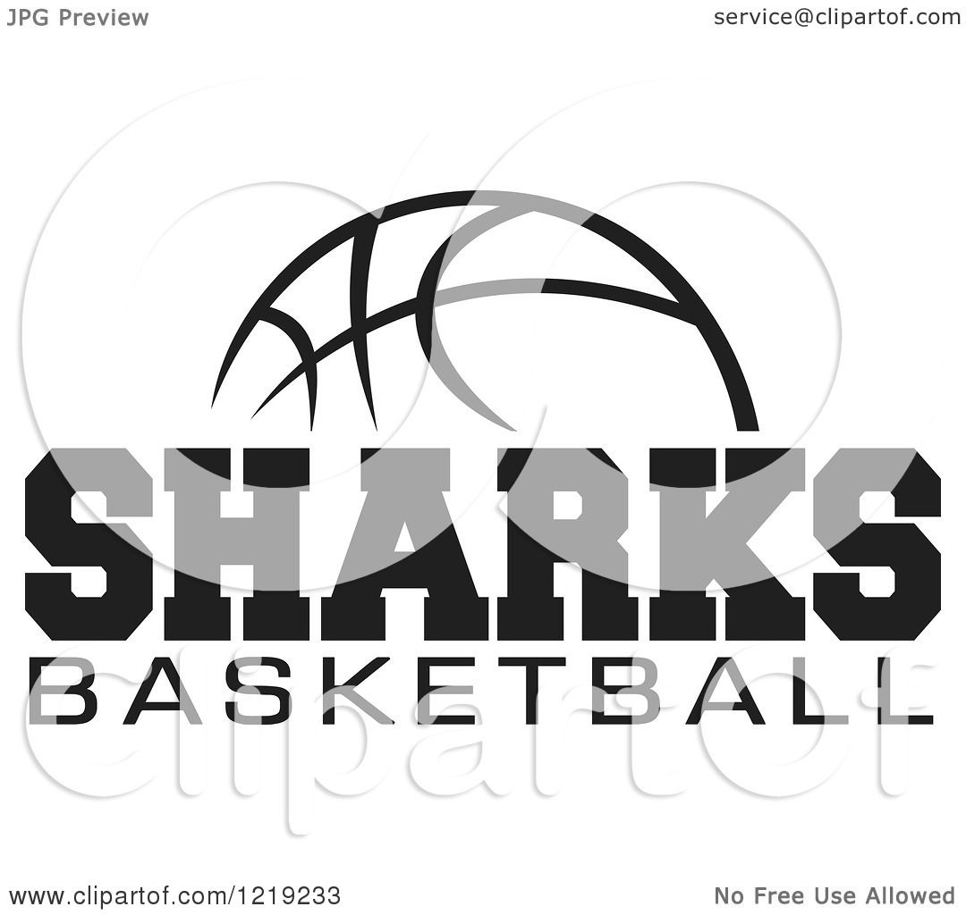 Clipart Of A Black And White Ball With Sharks Basketball