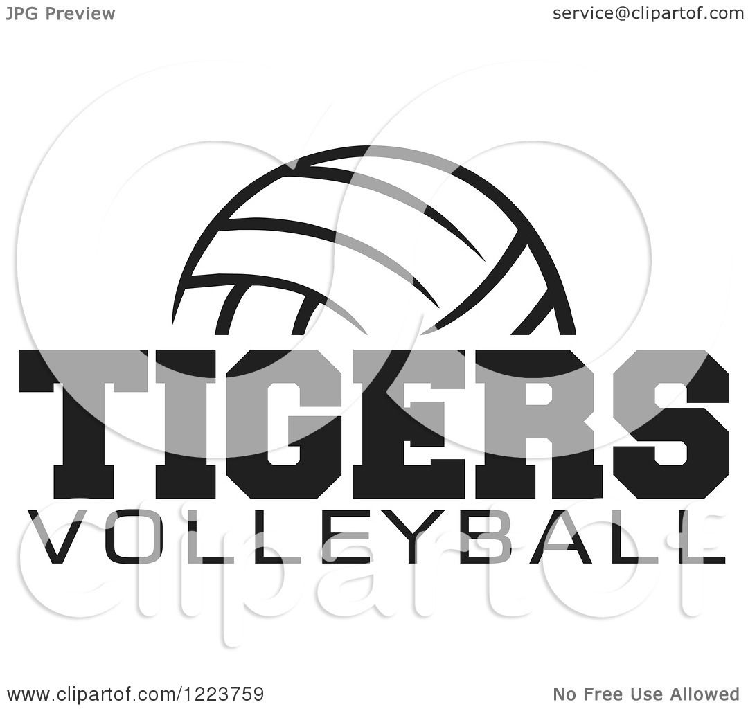 Clipart Of A Black And White Ball With Tigers Volleyball