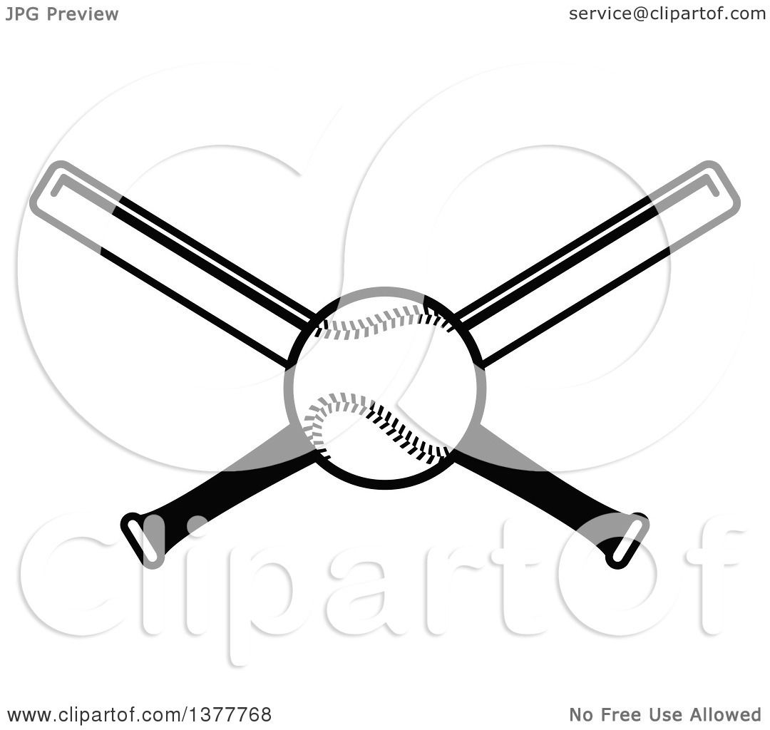 Clipart Of A Black And White Baseball And Crossed Bats