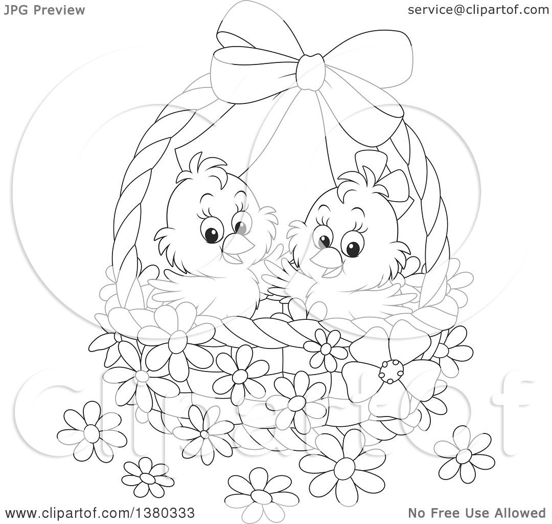 Clipart Of A Black And White Basket With Two Cute Easter