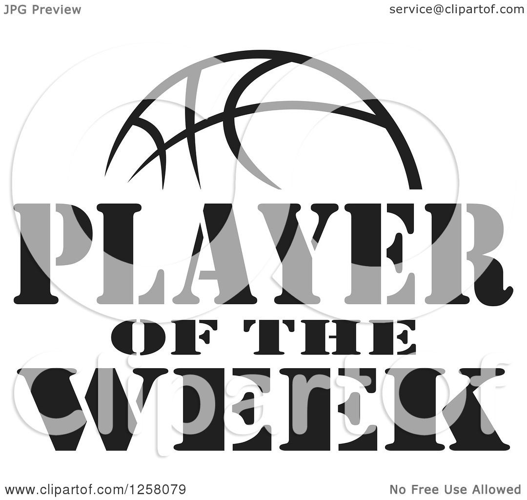 Clipart Of A Black And White Basketball And Player Of The Week Text