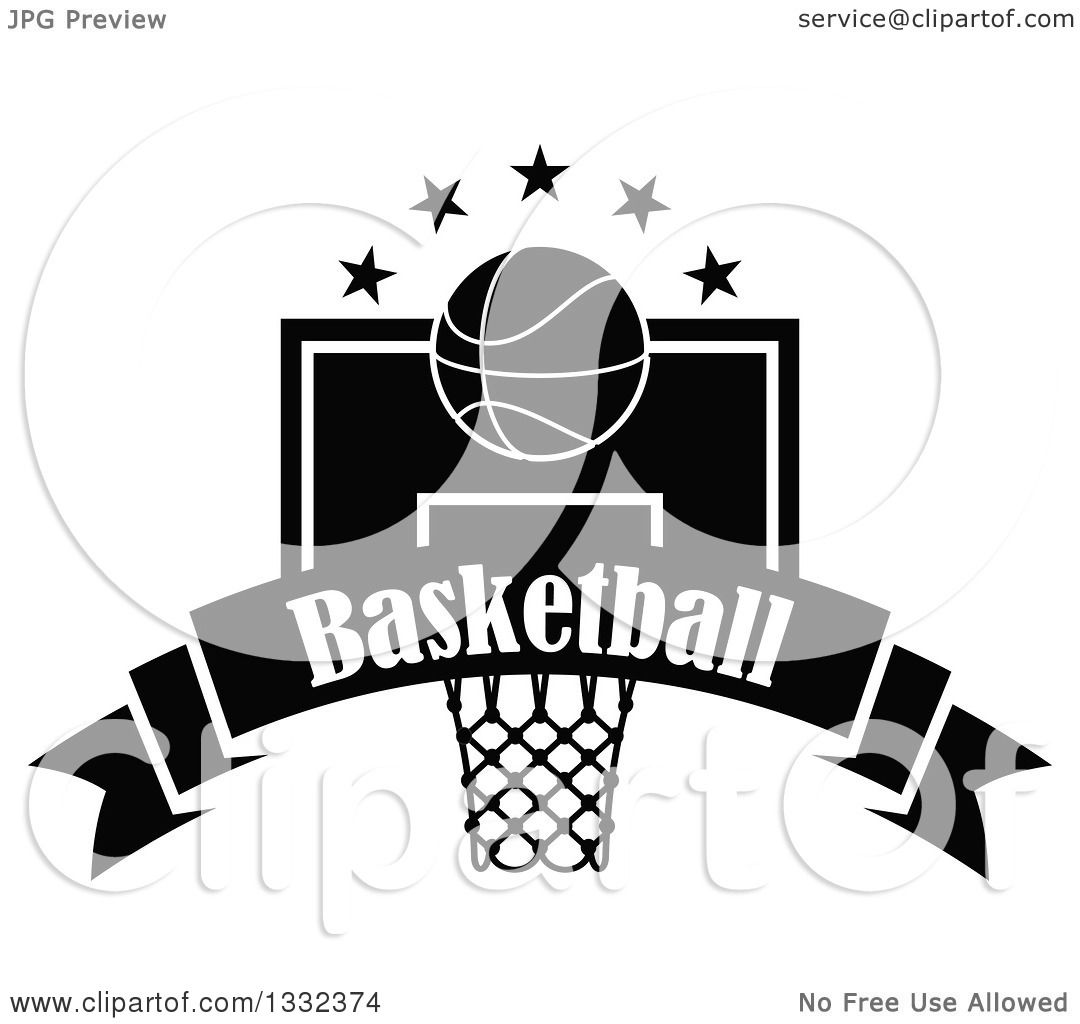 Clipart Of A Black And White Basketball And Stars Over A Hoop And Text Banner