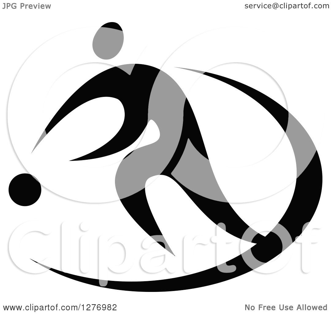 Clipart Of A Black And White Basketball Player Dribbling