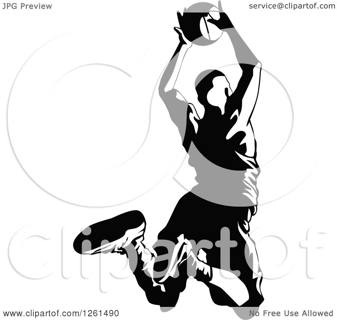 Clipart Of A Black And White Basketball Player In Action
