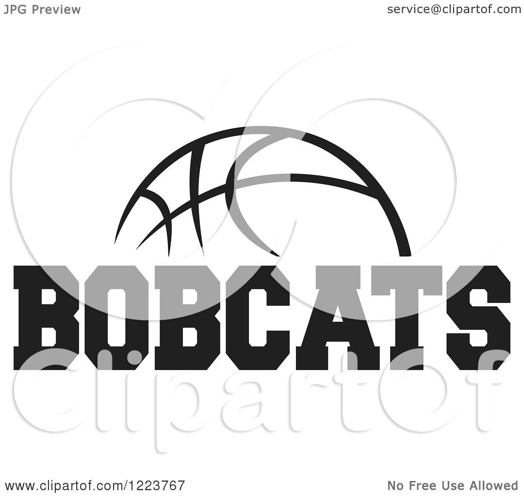 Clipart Of A Black And White Basketball With Bobcats Text