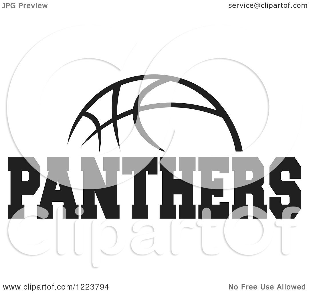 Clipart of a Black and White Basketball with PANTHERS Text