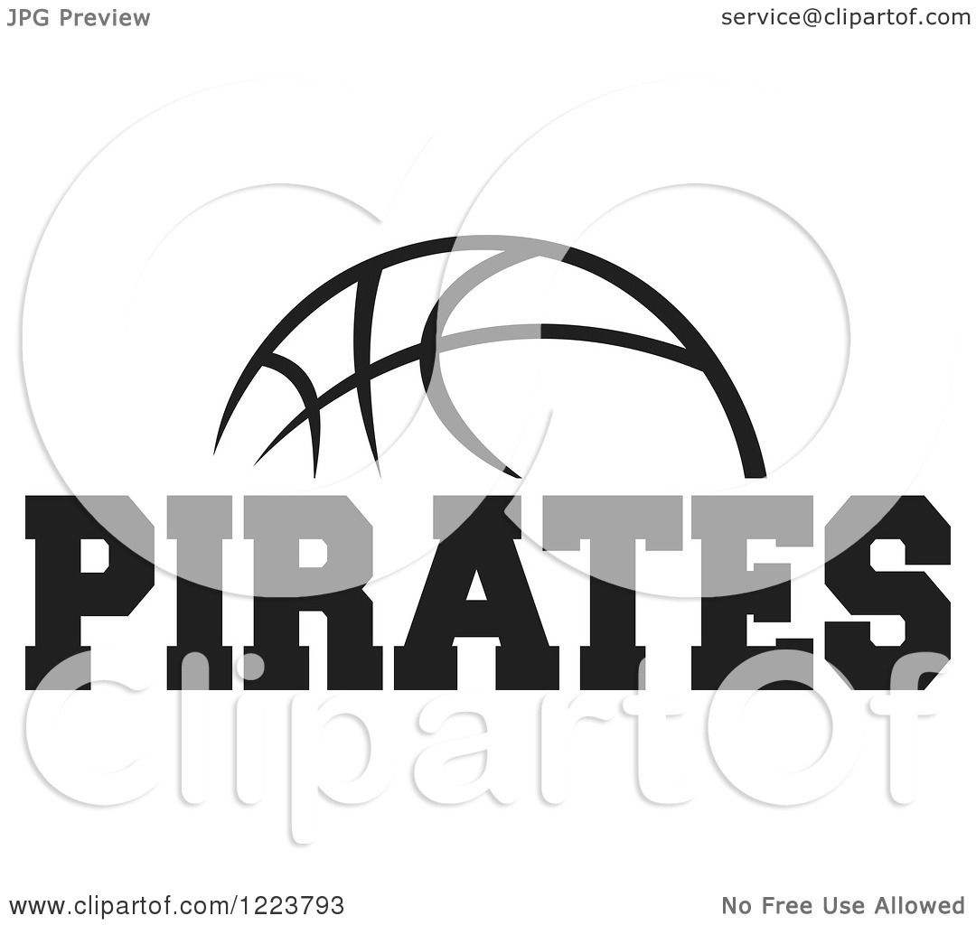 Clipart Of A Black And White Basketball With Pirates Text