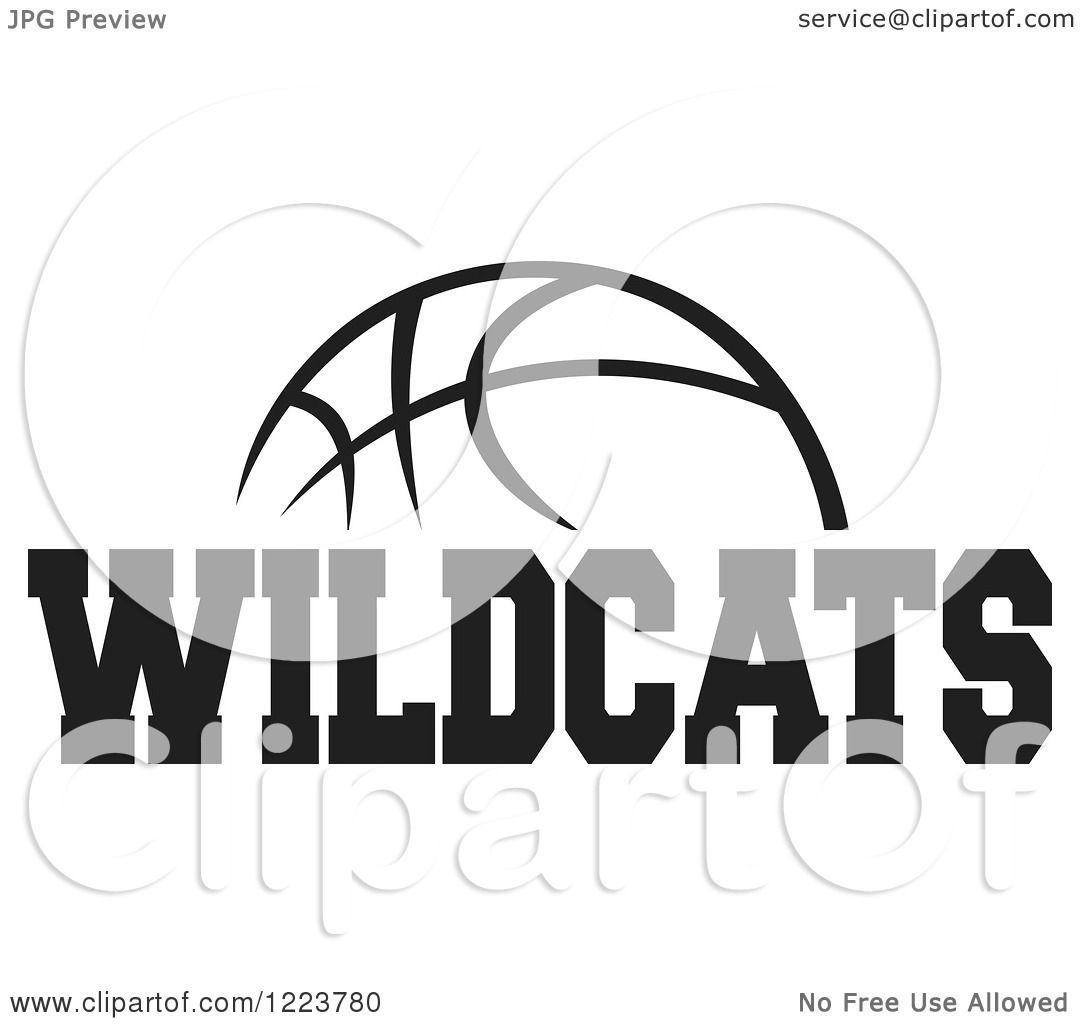 Clipart Of A Black And White Basketball With Wildcats Text