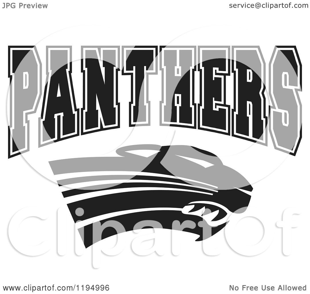 Clipart Of A Black And White Big Cat And Panthers Team
