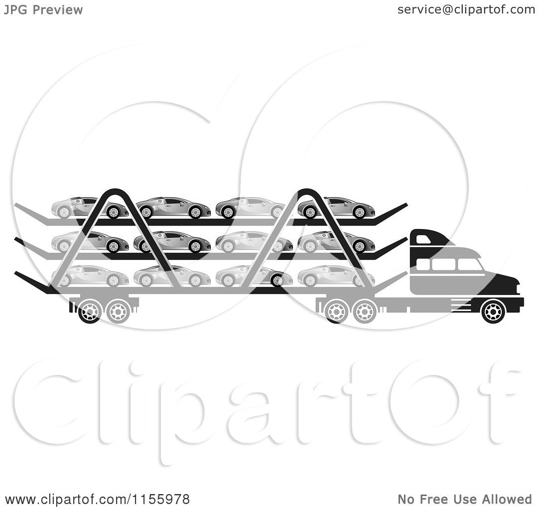 Clipart Of A Black And White Big Rig Truck Transporting