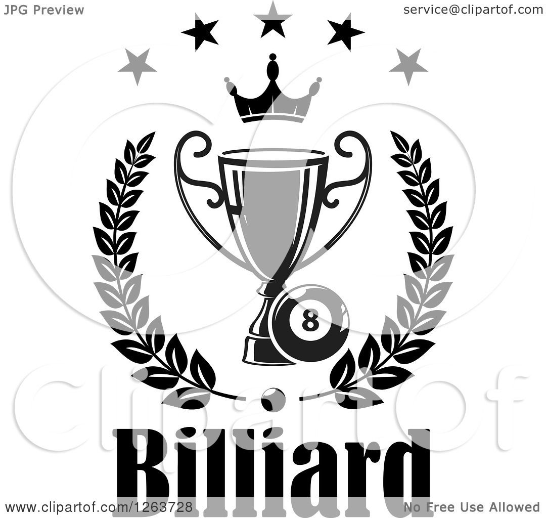 Clipart Of A Black And White Billiards Eight Ball With A