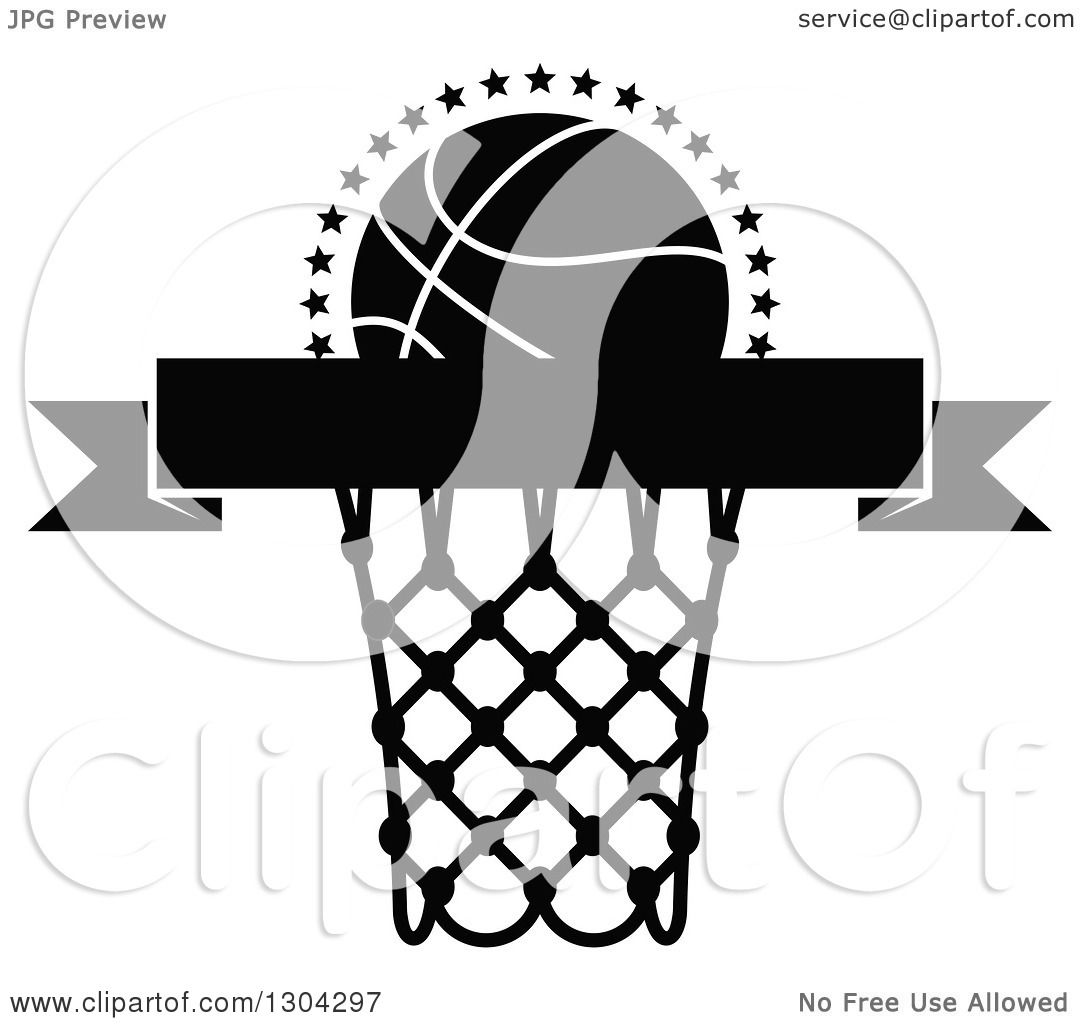 Clipart Of A Black And White Blank Black Banner With A Basketball And Hoop