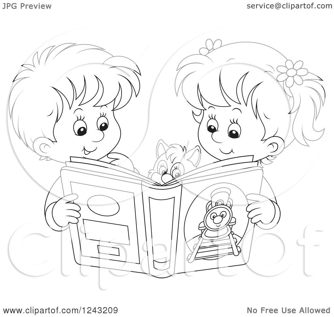 Clipart of a Black and White Boy and Girl Reading a Story