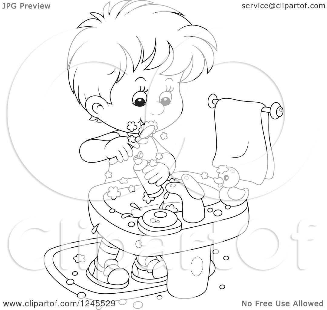 Clipart Of A Black And White Boy Brushing His Teeth In A Bathroom