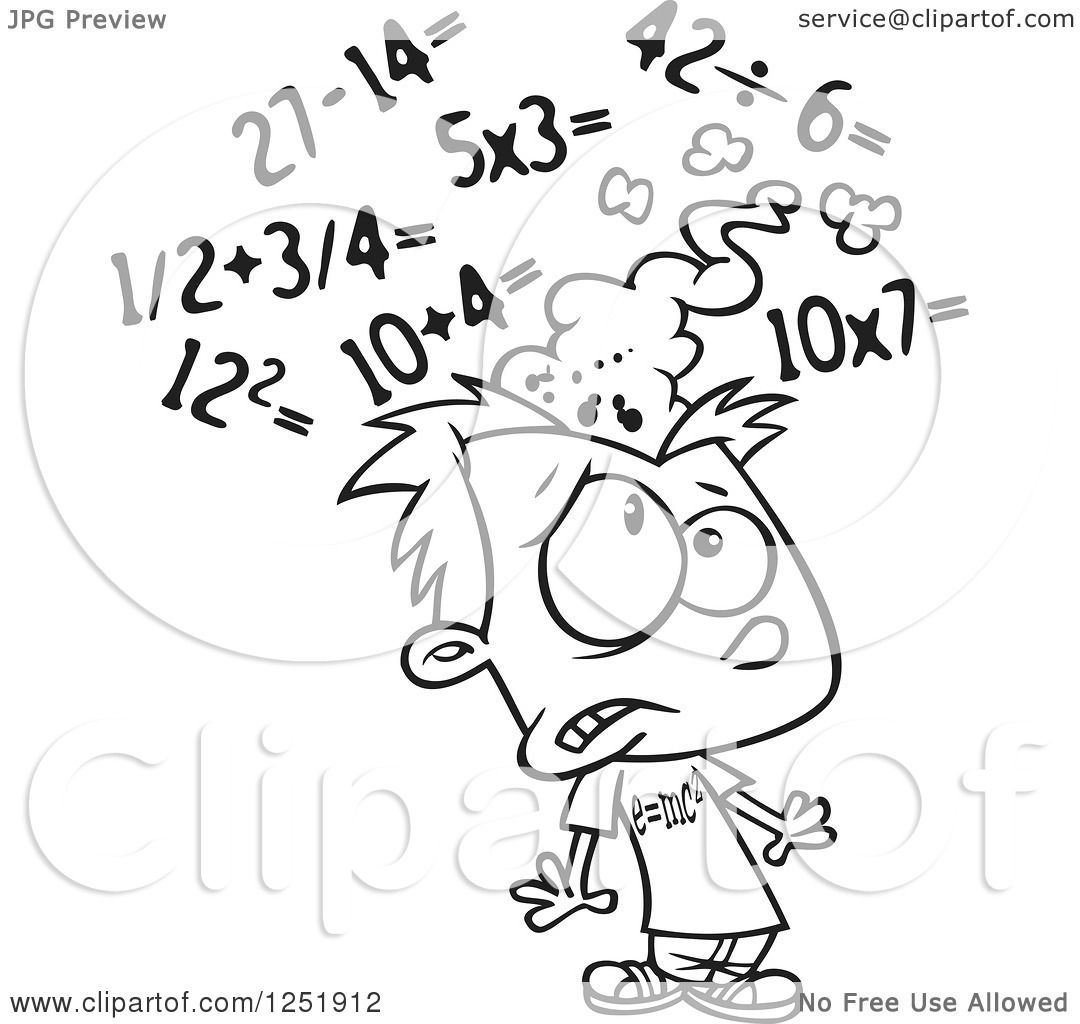 Clipart of a Black and White Boy Getting a Sore Head from