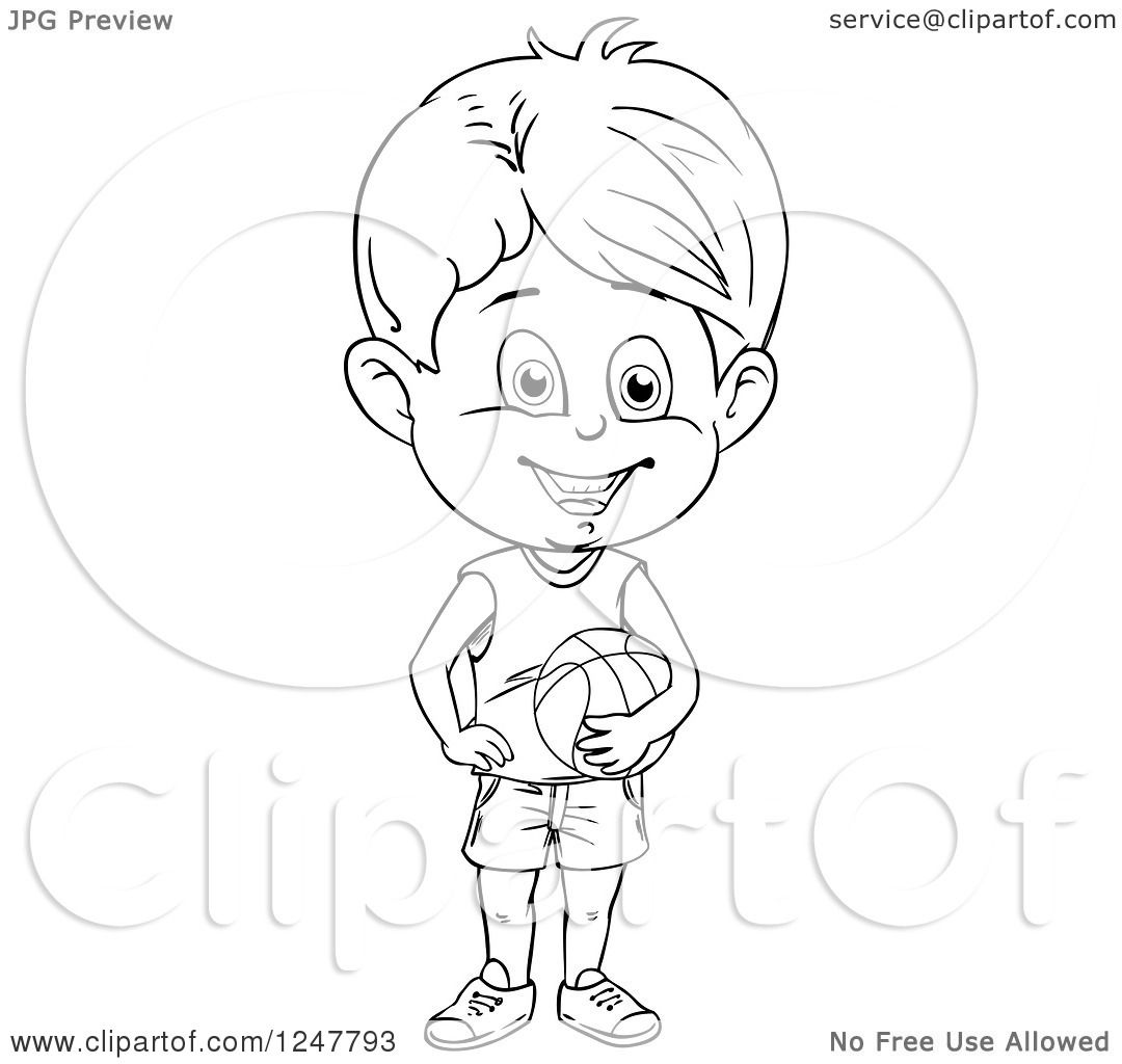 Clipart Of A Black And White Boy Holding A Basketball