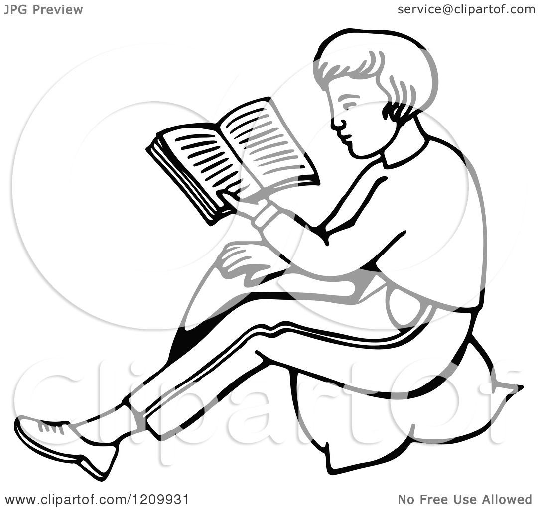 Clipart Of A Black And White Boy Reading A Book