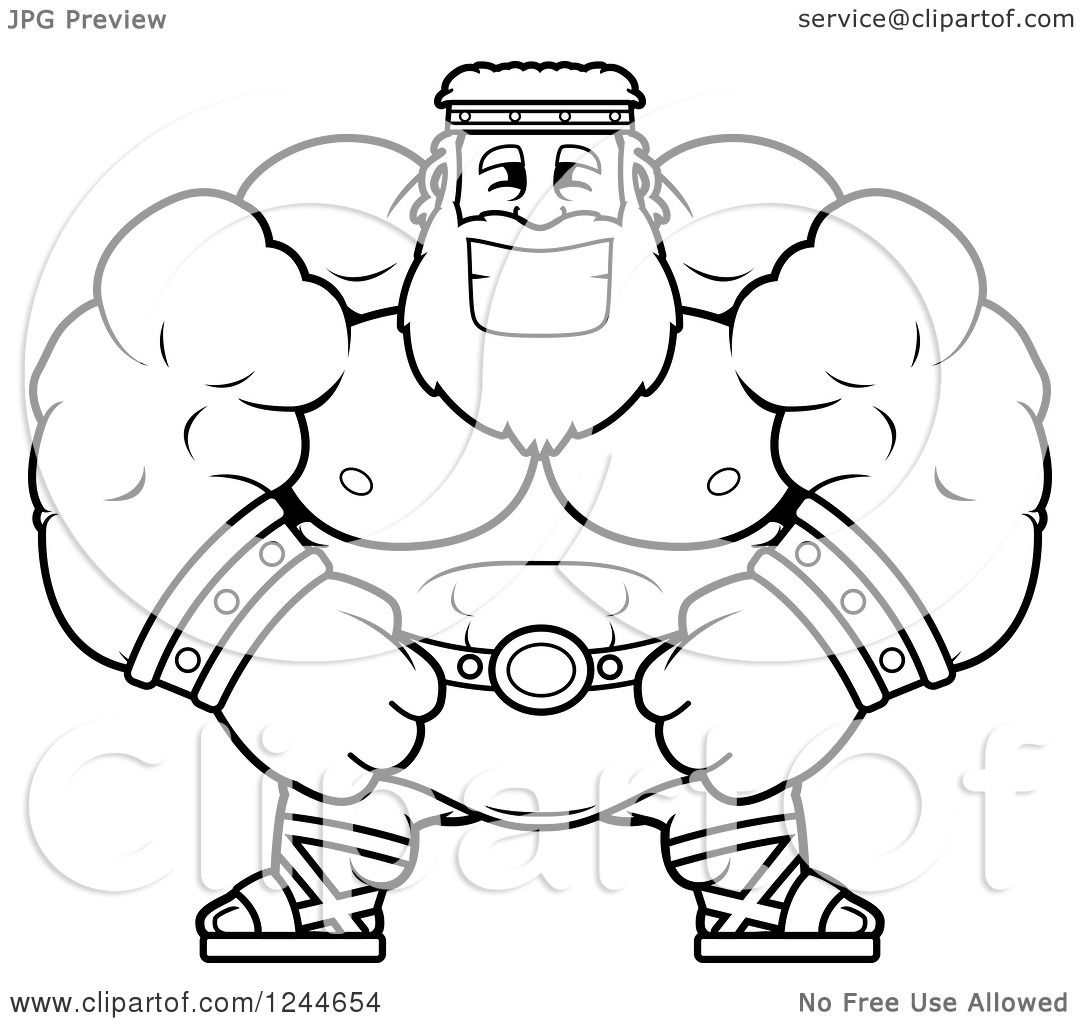Clipart Of A Black And White Brute Muscular Zeus Man