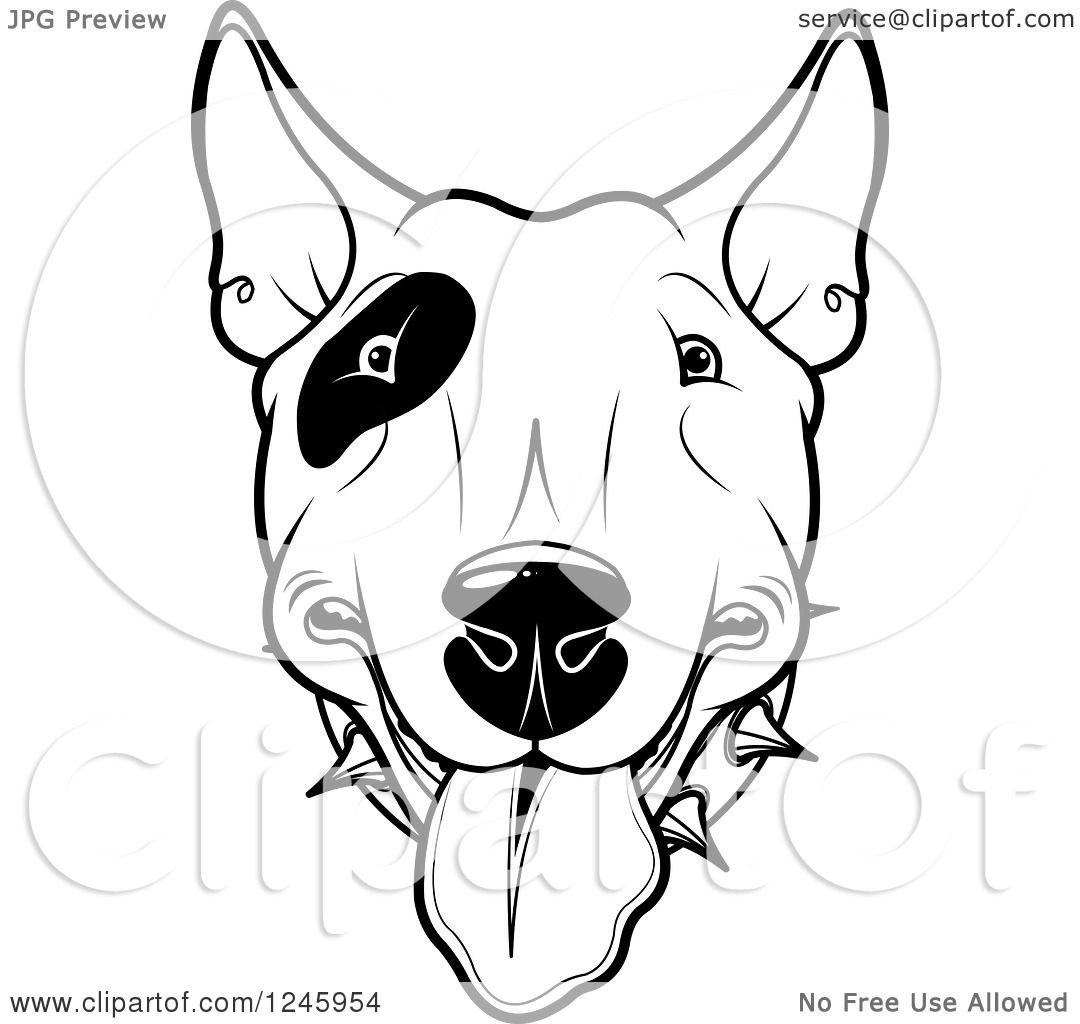 Clipart Of A Black And White Bull Terrier Dog Face