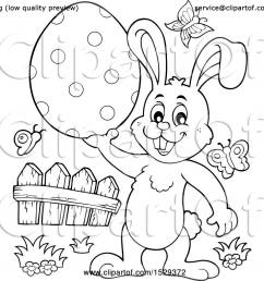 clipart of a black and white bunny rabbit holding an easter egg royalty free vector illustration by visekart [ 1080 x 1024 Pixel ]