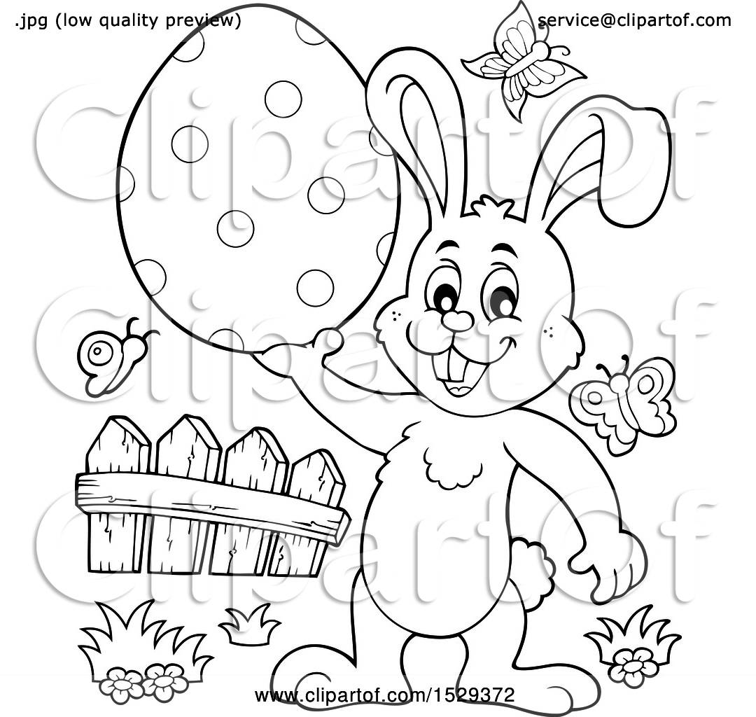 hight resolution of clipart of a black and white bunny rabbit holding an easter egg royalty free vector illustration by visekart