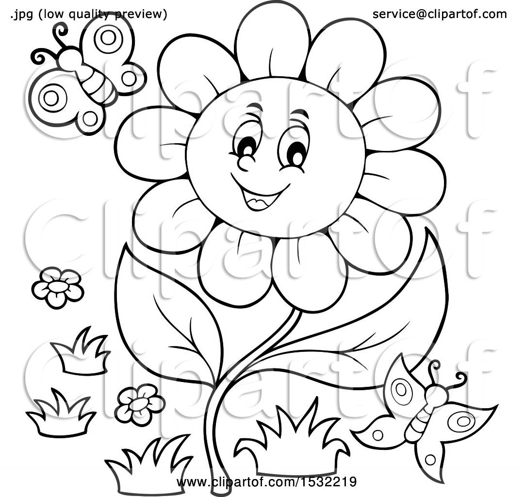 Clipart Of A Black And White Butterfly And Daisy Flower