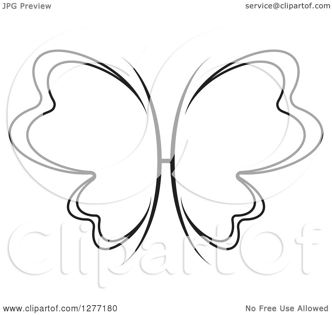 Clipart of a Black and White Butterfly with Open Wings