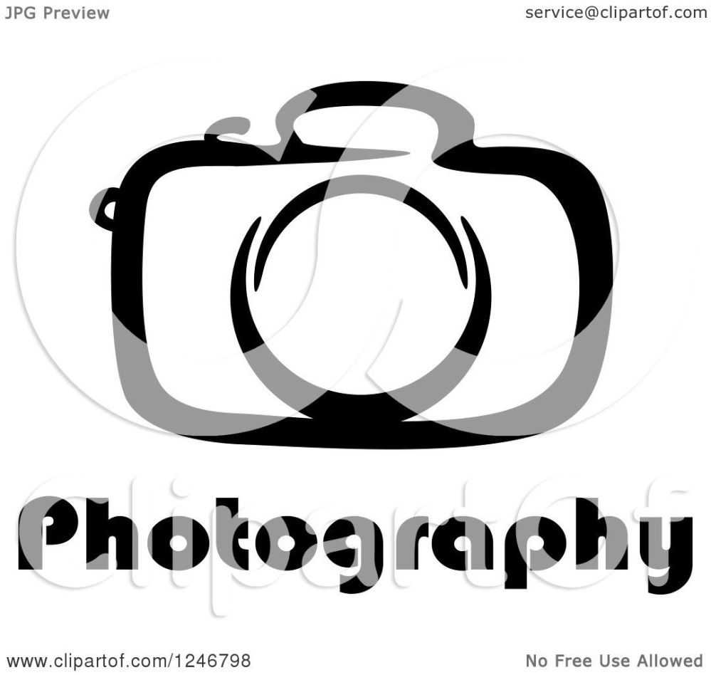 medium resolution of clipart of a black and white camera with photography text royalty free vector illustration by