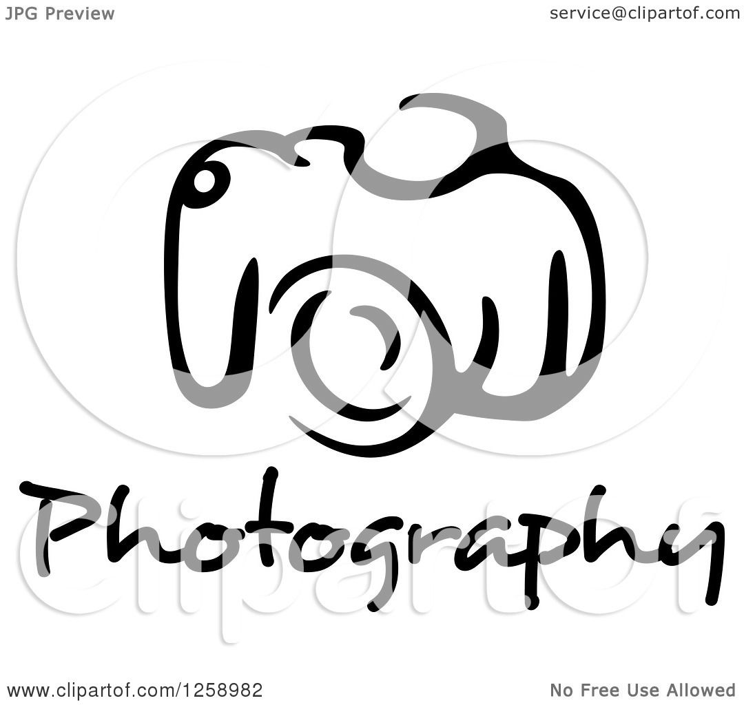 hight resolution of clipart of a black and white camera with photography text royalty free vector illustration by