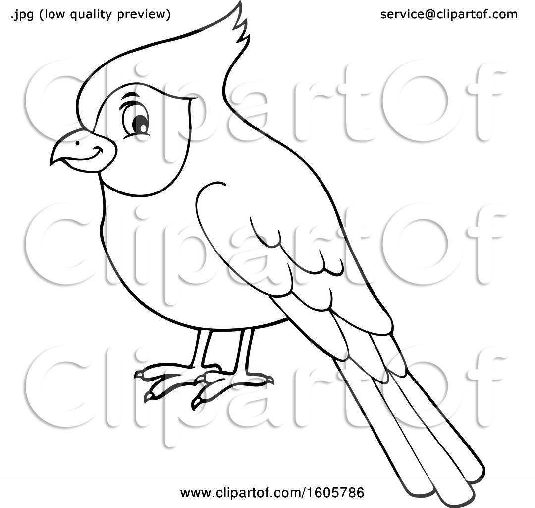 Clipart Of A Black And White Cardinal Bird