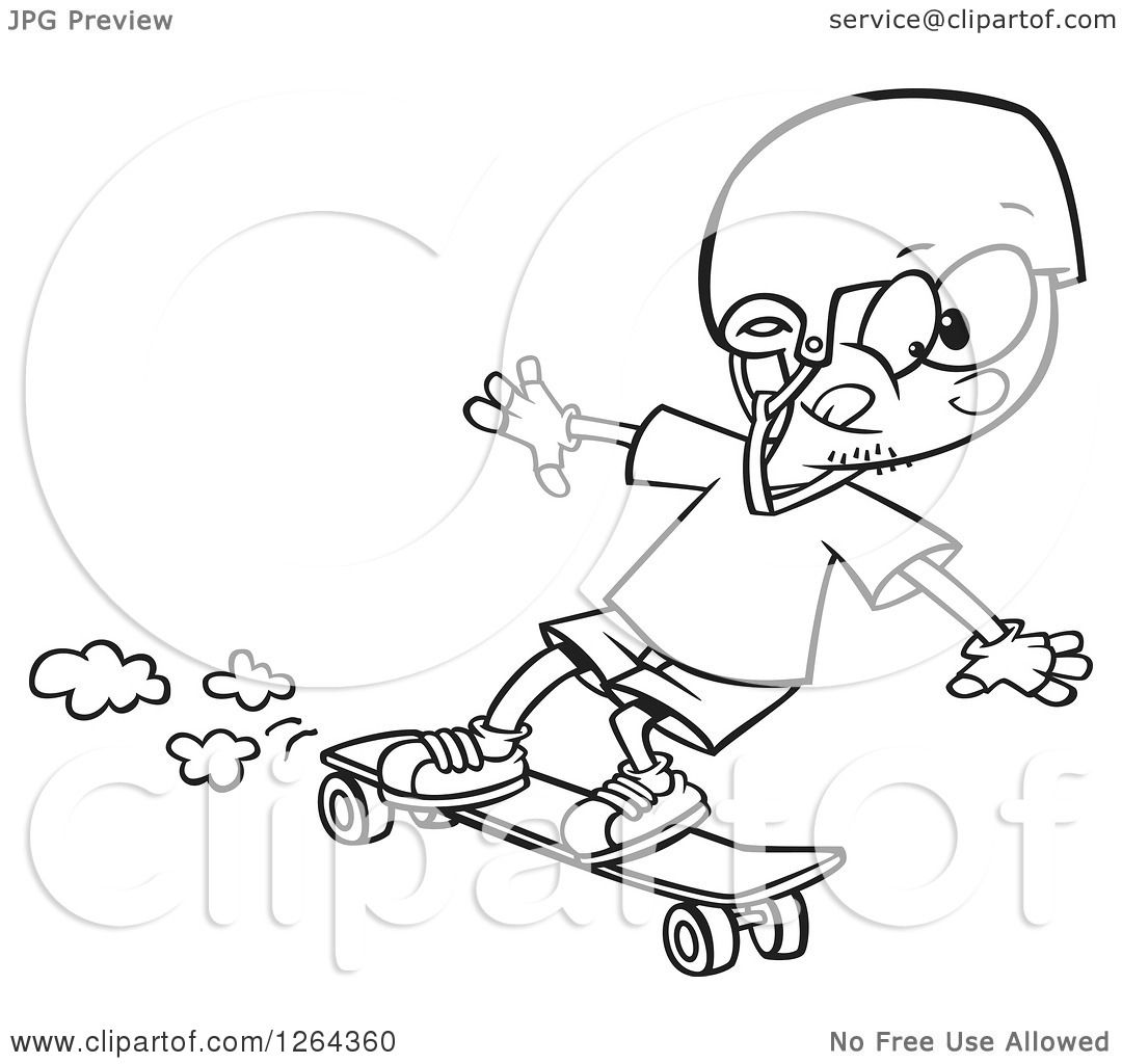 Clipart Of A Black And White Cartoon Boy Skateboarding On