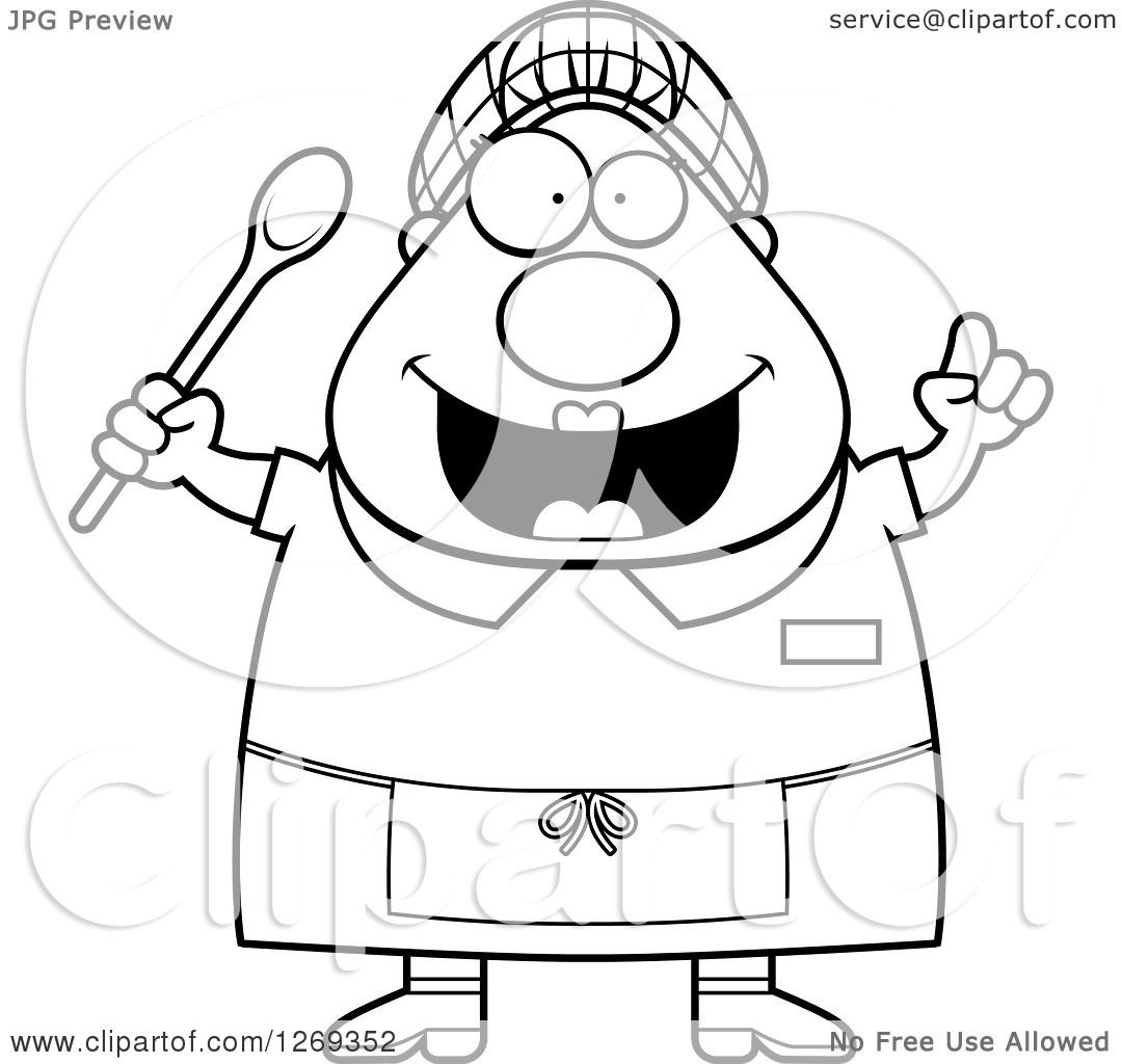 Clipart Of A Black And White Cartoon Chubby Creative Lunch