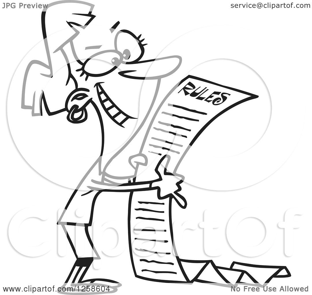 Clipart of a Black and White Cartoon Happy Woman Reading