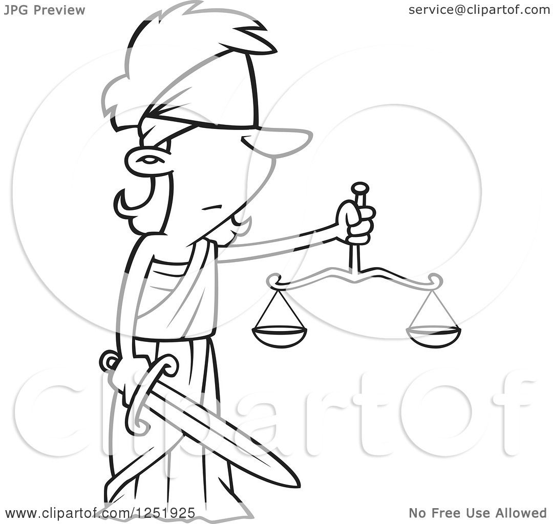 Clipart Of A Black And White Cartoon Lady Justice