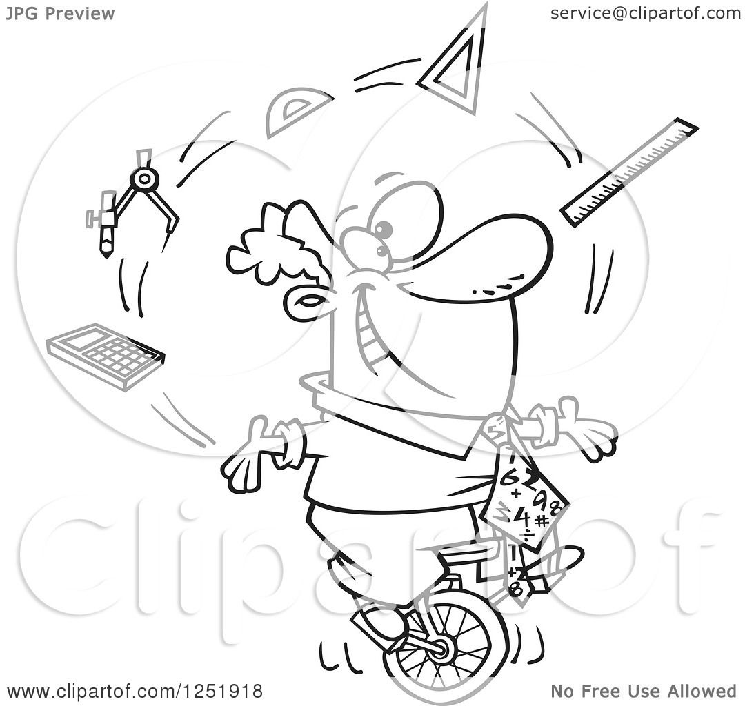 hight resolution of clipart of a black and white cartoon male math teacher juggling on a unicycle royalty free vector illustration by toonaday