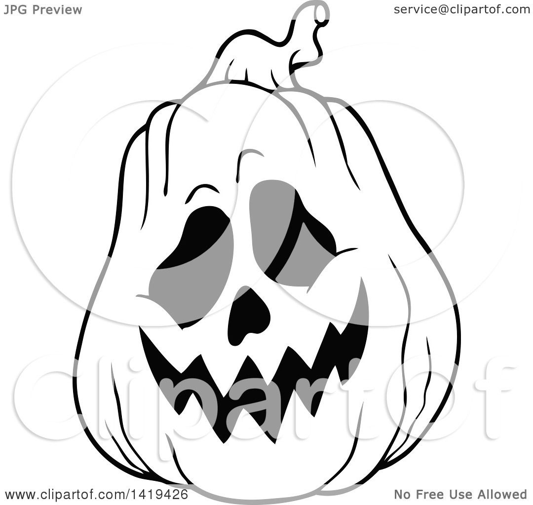 Clipart Of A Black And White Carved Halloween Jackolantern